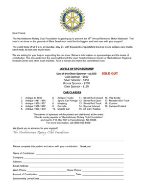 Fillable Online Rotary Car Show Sponsor Form Hackettstown BID Fax - Car show sponsorship levels