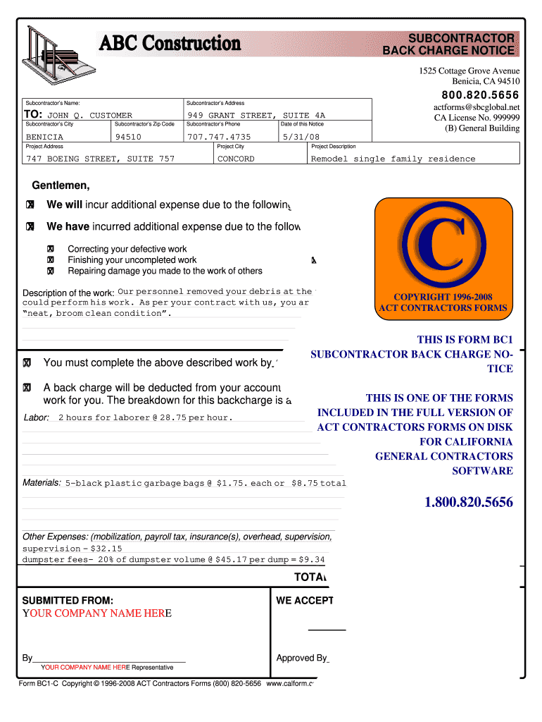 Back Charge Form - Fill Online, Printable, Fillable, Blank
