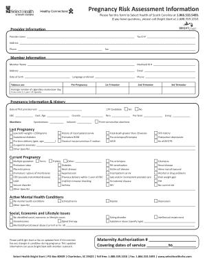 Pregnancy Risk Essment Form