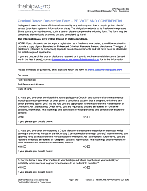 Criminal Record Declaration Form PRIVATE ... - Constant Contact