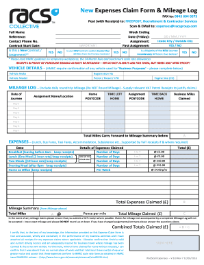 Racs Online New Expenses Claim Form And Mileage Log - Fill Online ...