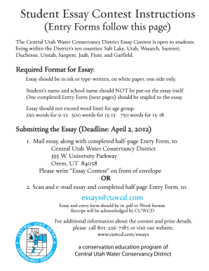 essay contest form fill online printable fillable blank  piute