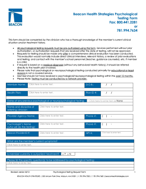 Printable mental health tests Templates to Submit Online in PDF