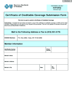 Fillable Online Certificate of Creditable Coverage Submission Form ...