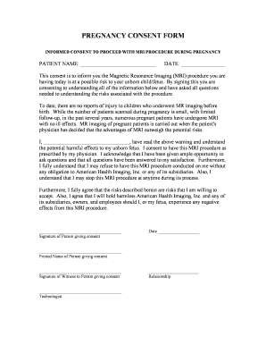 Pregnancy Consent Form - Fill Online, Printable, Fillable, Blank ...