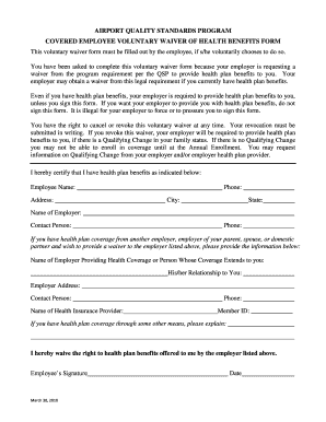 employee health insurance waiver form template - Edit, Fill Out ...