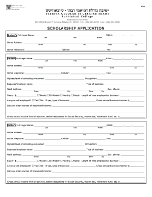 Yeshiva Gedolah Scholarship Application Form - Lubavitch ...