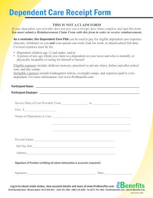 fsa dependent care receipt form Fill Online, Printable, Fillable ...