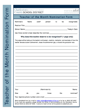 Teacher Of The Month Nomination Form - Fill Online, Printable ...