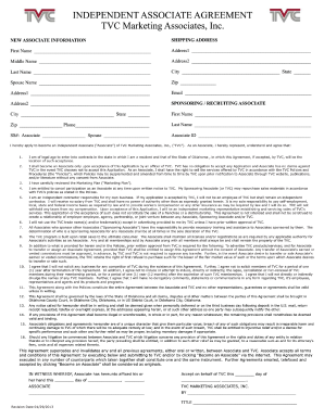 Independent Associate Agreement Fill Online Printable