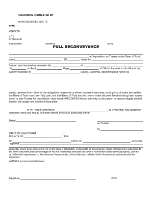 Deed Of Reconveyance Form Templates - Fillable & Printable Samples ...