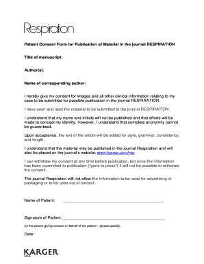 Fillable Online Patient Consent Form for Publication of Material ...
