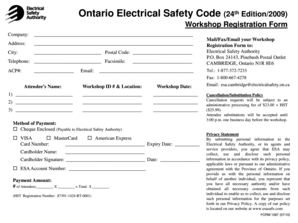 Fillable Online Workshop Registration Form - Electrical Safety ...