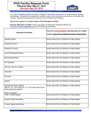 Fillable Online Planogram Department POG Facility Request