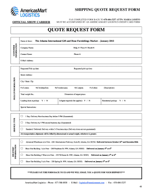 Fillable Online Shipping quote request form - AmericasMart Atlanta ...