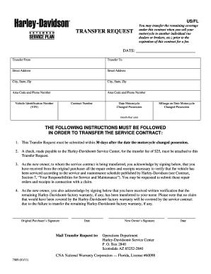 harley davidson esp transfer request form - fill online, printable