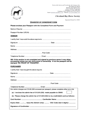 Transfer Of Ownership Form For Horses Fill Online