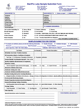 SteriPro Labs Sample Submittal Form - Sterigenics