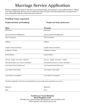 Marriage Church Application Form - Fill Online, Printable ...