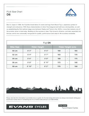 Fillable Online FUJI Size Chart Fax Email Print - PDFfiller