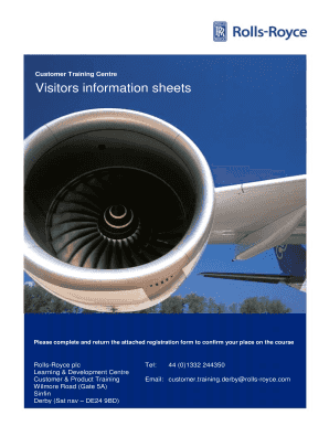 Registration form and visitor information sheet - Rolls-Royce