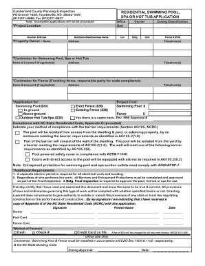 Miscellaneous swimming pool application cumberland county fill online printable fillable for Swimming pool inspection report