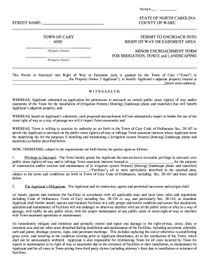Fillable online townofcary 2013 encroachment agreement formcx rate this form platinumwayz