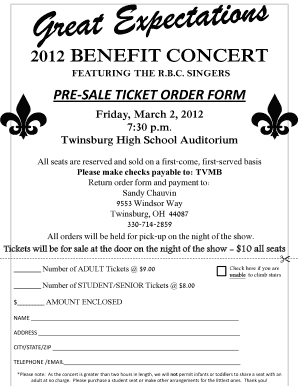 2012 BENEFIT CONCERT   Twinsburg City School District   Mediapp Twinsburg  K12 Oh  Benefit Ticket Template