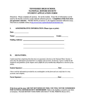 national honor society essay character   edit fill print