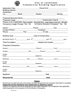 Commercial Building Permit bApplicationb - City of Jonestown