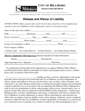 Release and Waiver of Liability - City of Hillsboro - hillsborotx