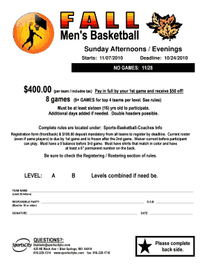 typable basketball flyers form
