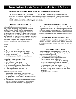 Policies and procedures template for small business forms fillable health and safety for hospitality small business wcb of bc sample health and safety program for wajeb Choice Image