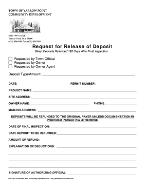 Deposit Release Form.doc. Variance Application Form