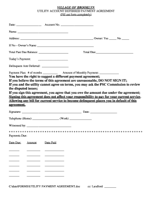 Utility Deferred Payment Agreement Form - Village of Brooklyn