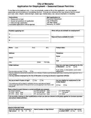 fillable online cityofmenasha wi employment application form the