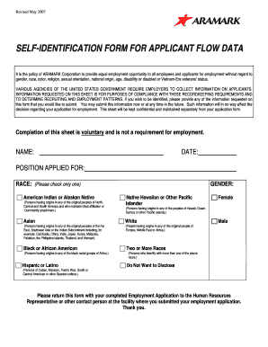 Aramark Eeo Self Identifying Form - Fill Online, Printable, Fillable on home depot application form, apple store application form, ashley stewart application form, at&t application form, safeway application form, 24 hour fitness application form, google application form, bank of america application form, adp application form, target application form, hmshost application form, chick-fil-a application form, sunrise senior living application form, autozone application form, pepsico application form, american eagle outfitters application form, walmart application form, barnes & noble application form, comcast application form, nordstrom application form,