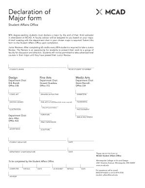 Fillable Online Declaration of Major form - MCAD Intranet ...