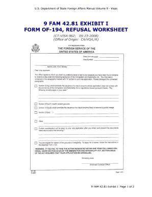 Fillable Online 9 FAM 42.81 Exhibit I - Form OF-194 Refusal ...