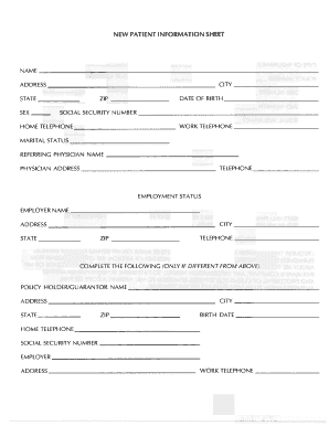 Patient information for Template for patient information sheet