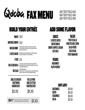 image about Qdoba Menu Printable titled Fillable On the internet Print Fax Menu - Qdoba Mexican Grill Fax