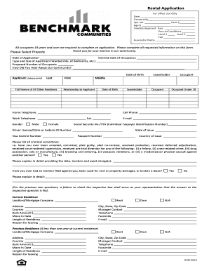 room for rent application