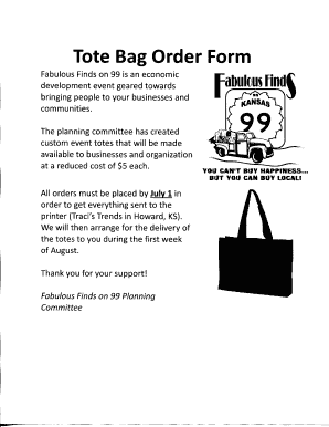 Fillable Online Tote Bag Order Form Fax Email Print - PDFfiller 0e2590ab91