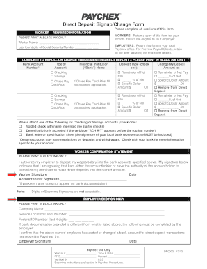 direct deposit form paychex  Fillable Online Direct Deposit Signup/Change Form - Paychex ...