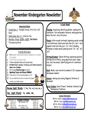 November Newsletter Template Kindergarten