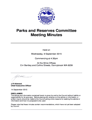 Parks and Reserves Committee Meeting Minutes 9 September 2015
