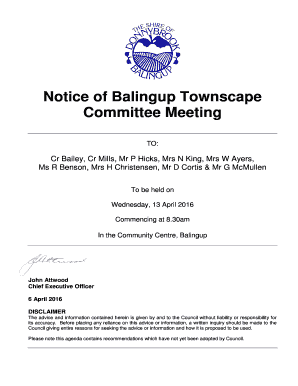 Balingup Townscape Committee Meeting Agenda 13 April 2016