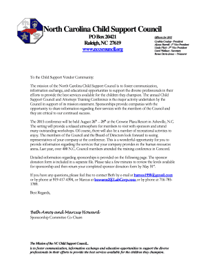 Professional Letter - North Carolina Child Support Council