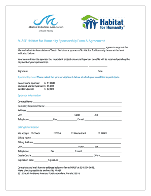 BMIASFb Habitat for Humanity Sponsorship Form amp Agreement