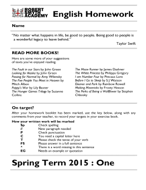 Fillable Online rswebsites co RSA English Homework 2015 Spring